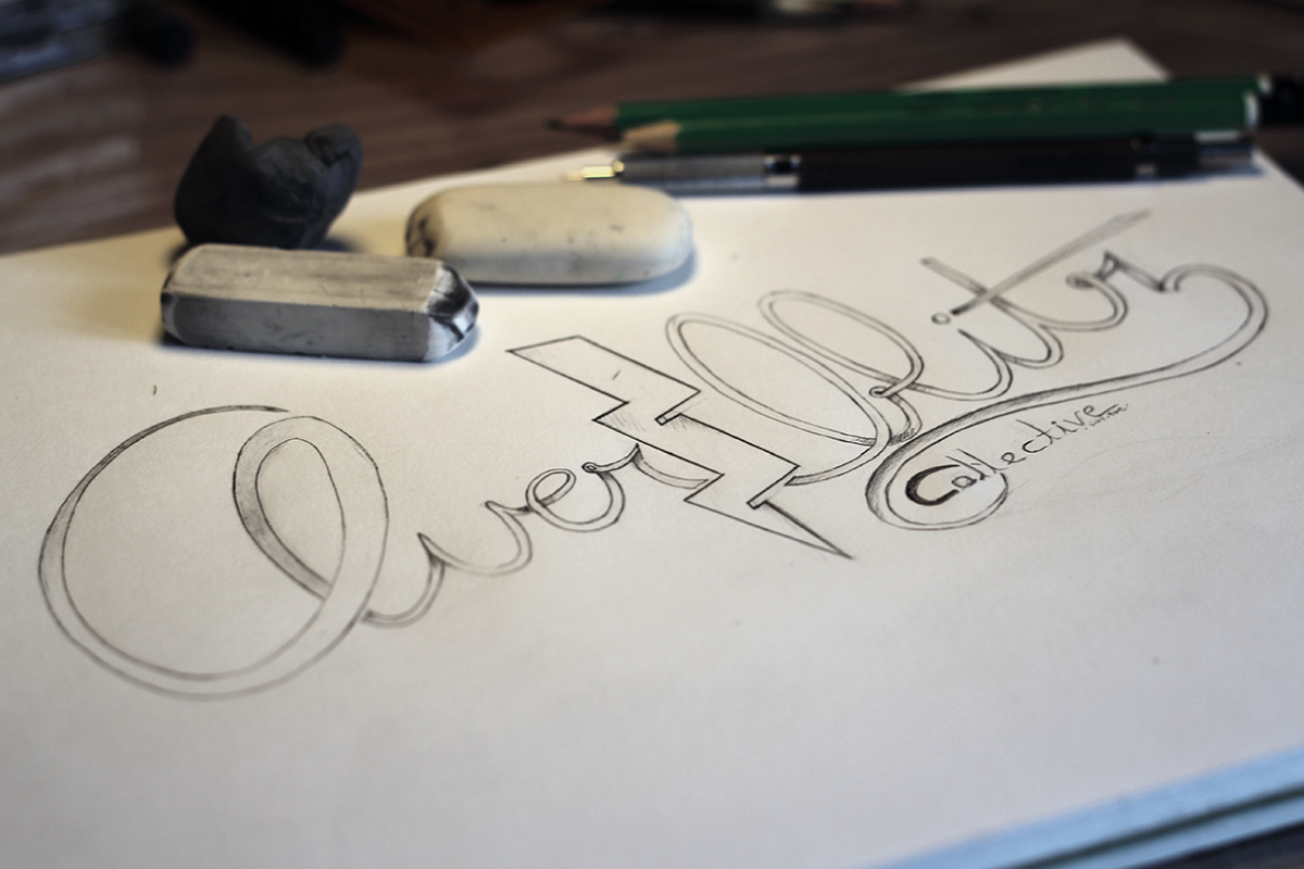 Overblitz collective brand hand drawing.